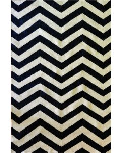 Chevron Flat Weave Black & White